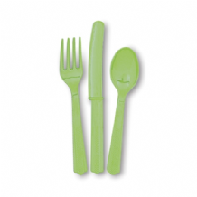 Lime Green Plastic Cutlery (18pcs)